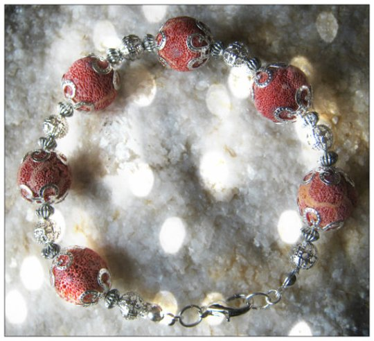 Red Bubble Coral & Silver